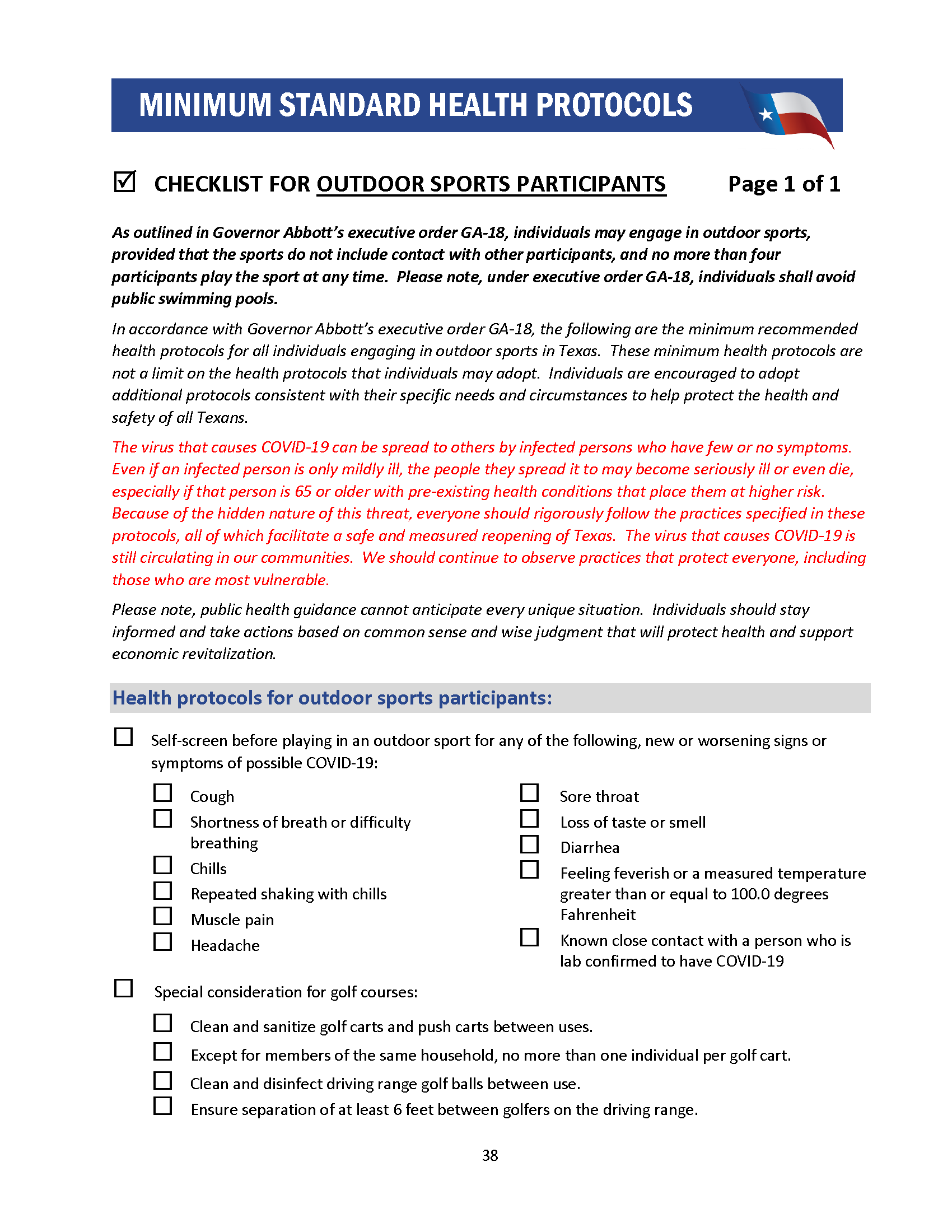 Checklist for Outdoor Sports Participants