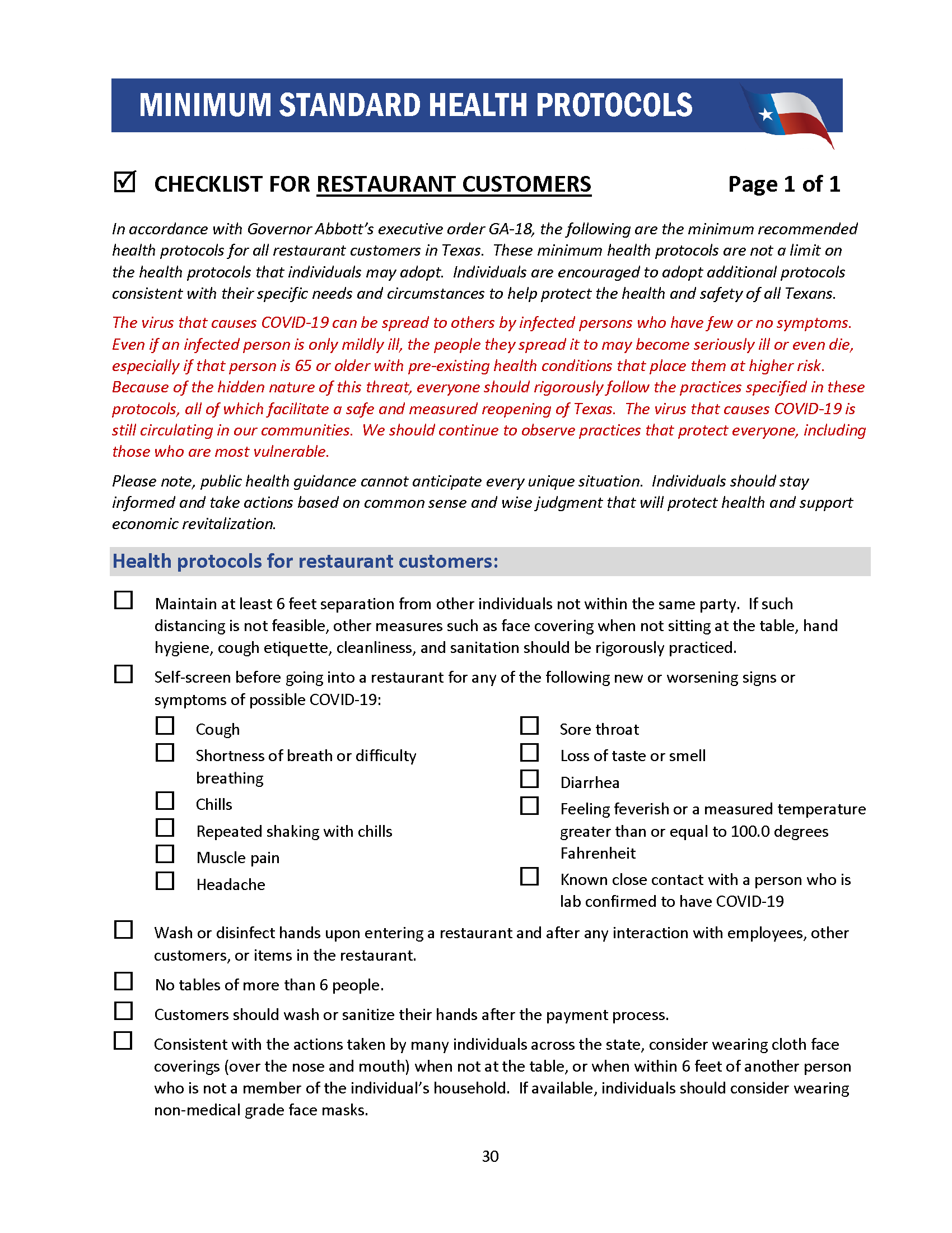 Checklist for Restaurant Customers