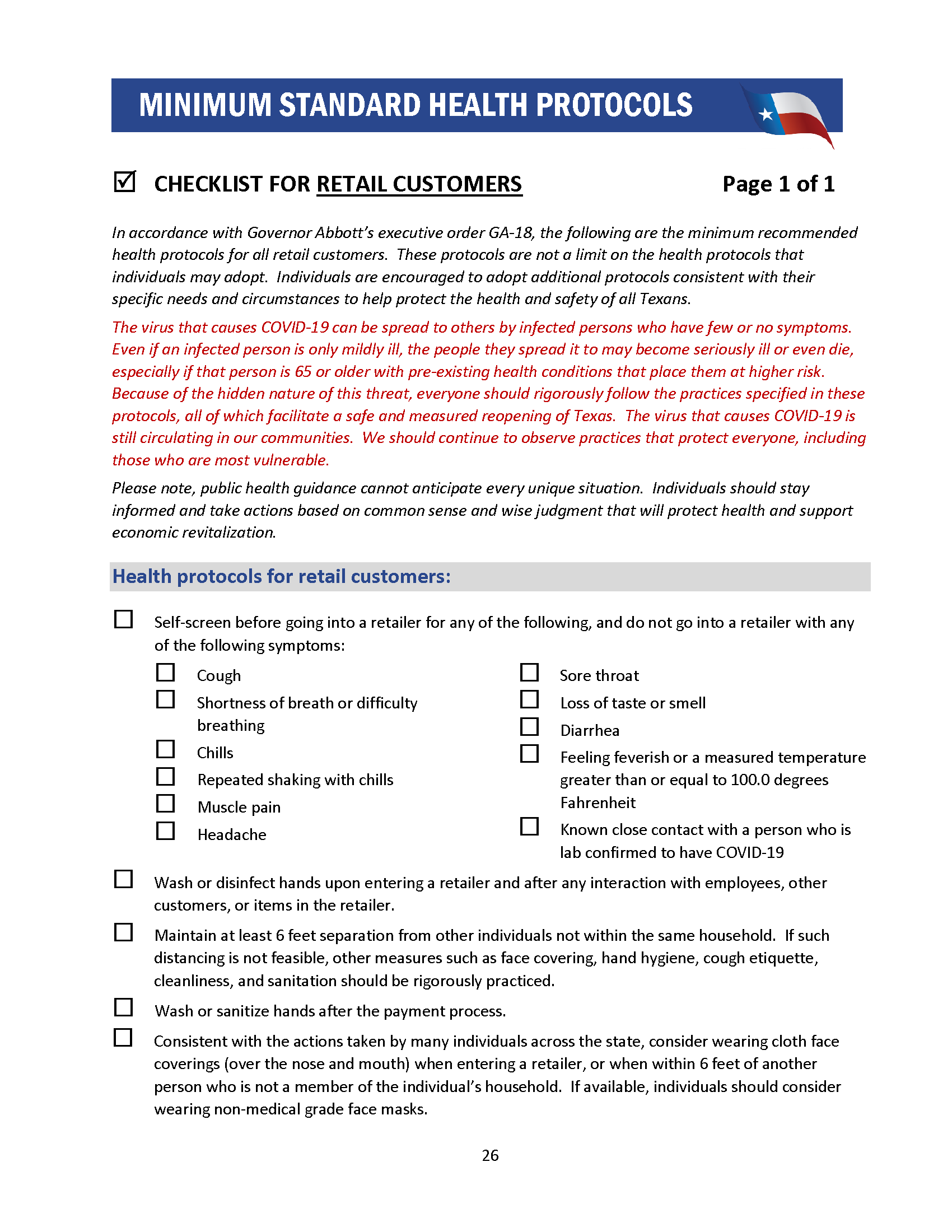 Checklist for Retail Customers