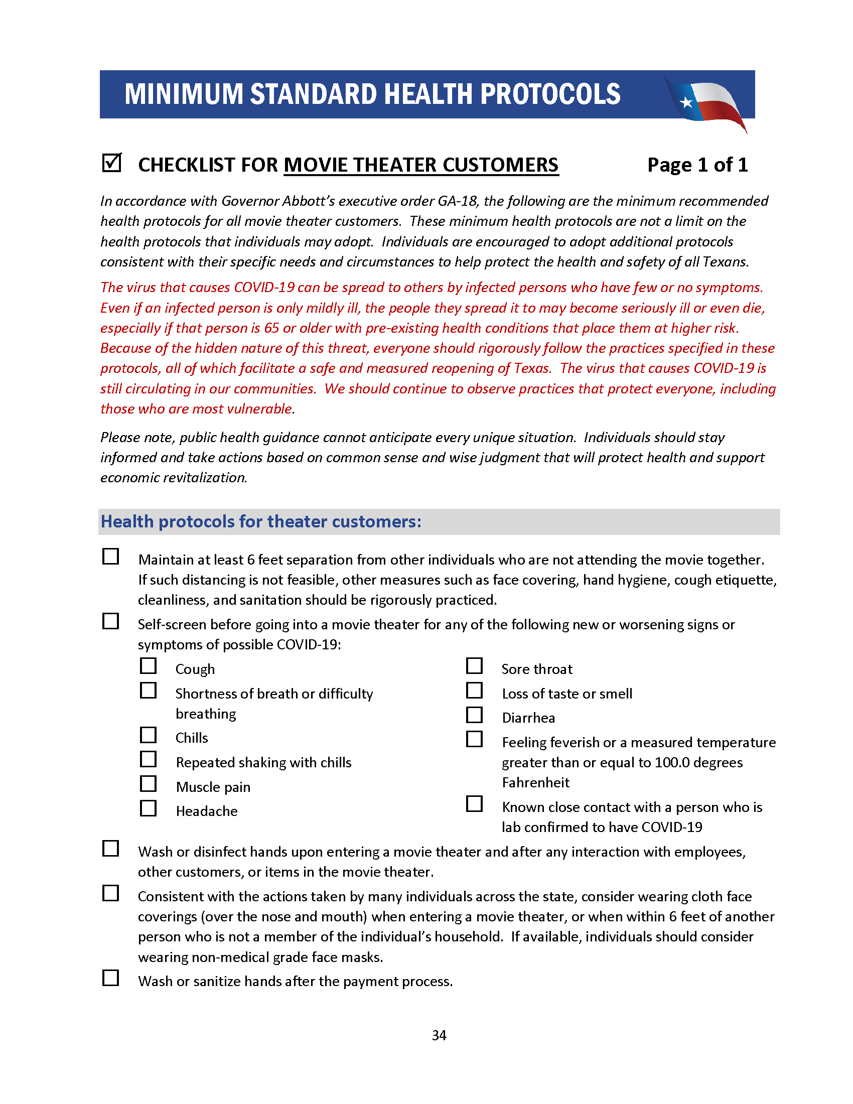 Cheecklist for Movie Theater Customers